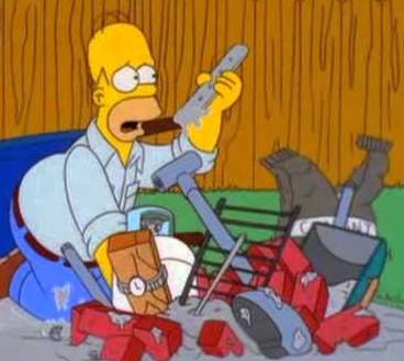 Гомер собирает мангал