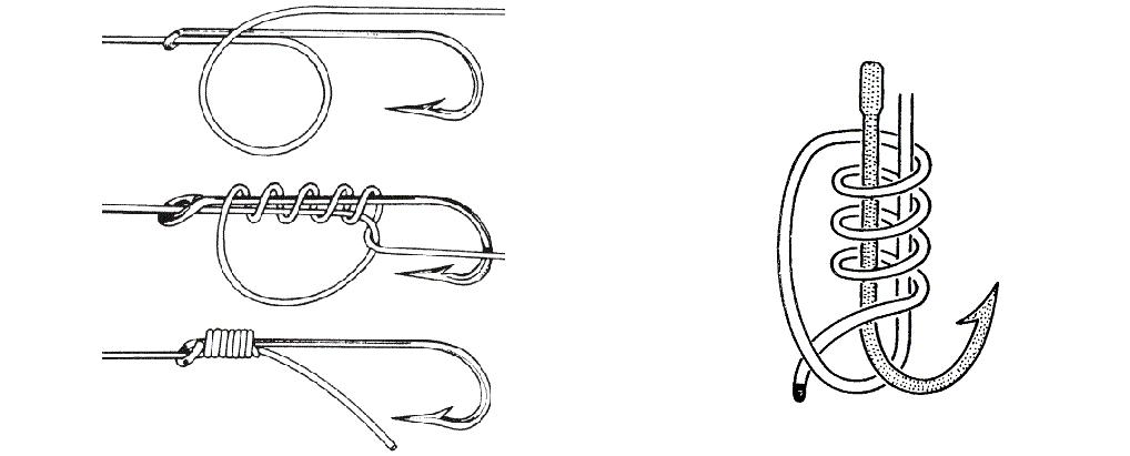 Схема привязывания крючков к леске