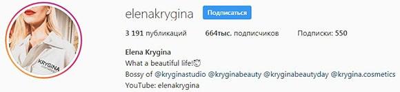 Количество подписчиков Елены Крыгиной в Инстраграм